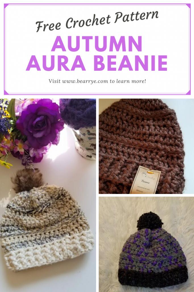 Autumn Aura Beanie Pin, Free crochet beanie pattern